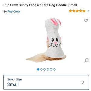 🐰 Bunny face w/ Ears Dog Hoodie NWT